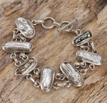 Indian Boho Silver Bracelet - Mother of Pearl
