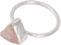 Frosted silver ring with natural semi-precious stone - rose quart..