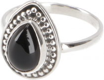 Boho silver ring, filigree gemstone ring - Onyx