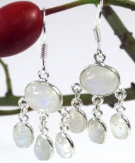 Silver earrings Bollywood 1 - Moonstone