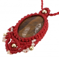 macramé necklace - red tiger eye