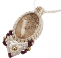 macramé necklace - cream jasper