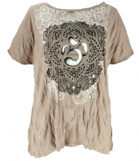 Baba T-Shirt for strong women, Plus Size T-Shirt - beige/Om