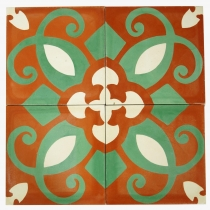 Cement tiles set, Ornament of 4 tiles, red - Design 3