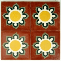 Cement tiles set, Ornament of 4 tiles, red - Design 1