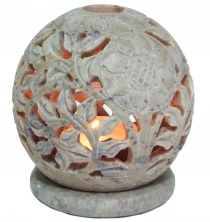 Indian fragrance potpourri container of soapstone, tea light - ba..