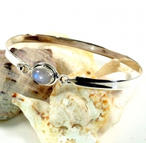 Boho silver bangle with semi-precious stone - moonstone