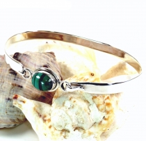 Boho silver bangle with semi-precious stone - Malachite