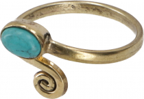 Brass Toe Ring, Goa Foot Jewelry, Indian Toe Ring - gold/turquois..