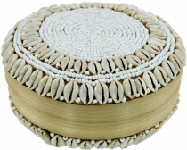 Exotic basket box with Kauri shell, jewelry box in 2 sizes