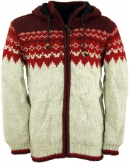 Wool cardigan with nordic pattern, cardigan - red