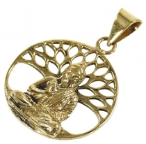 Amulet `Buddha under the Bodhi tree`, ethno pendant made of brass..