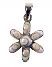 Boho silver pendant with shiva shell - flower