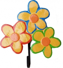 Colourful wooden coat hook, wall hook, coat hook - 3 flowers