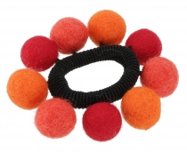 Hair tie `felt ball` - orange/red