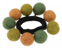 Hair tie `felt ball` - green
