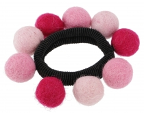 Hair tie `felt ball` - pink