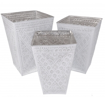 Wastebasket, Exotic cachepot made of embossed aluminium in three ..