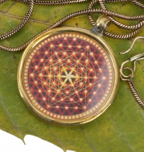 Indian amulet, talisman chain with medallion - Universe