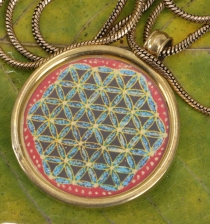 Indian amulet, talisman chain with medallion - Flower of life