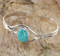 Indian bangle, silver bangle, bangle - turquoise