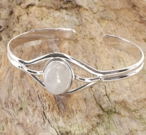 Indian bangle, silver bracelet, bangle - Moonstone
