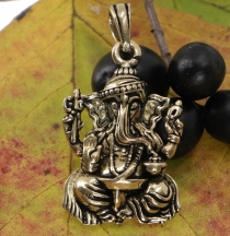 Amulet `sitting Ganesha`, golden pendant made of brass - Model 1