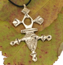 Tribal pendant, Tuareg cross brass - gold