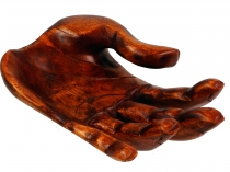 Carved hand, wooden bowl hand