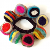 Hair tie `felt ball` - coloured