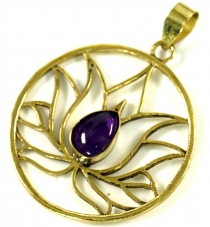 Lotus pendant made of brass - Amethyst