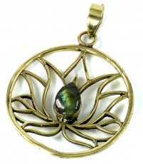 Lotus pendant made of brass - labradorite