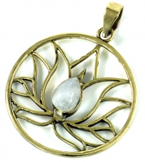 Lotus pendant made of brass - moonstone