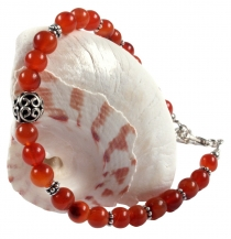 Mala bracelet and necklace with genuine silver beads - Carnelian