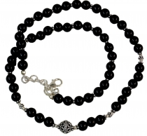 Mala bracelet and necklace with genuine silver beads - Onyx