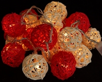 Rattan Ball LED Ball Lamp Lampion light chain - red/white