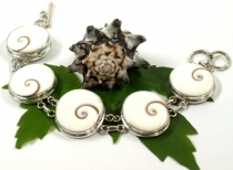 Shiva shell bracelet, Indian silver bracelet with shells