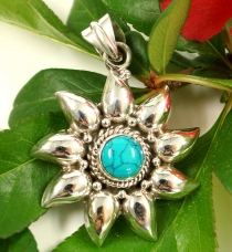 Ethno Silver Pendant, Indian Sun Pendant - Turquoise