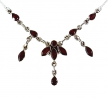 Silver chain with semi-precious stones garnet