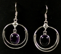 Silver earrings Bollywood 3 - Amethyst