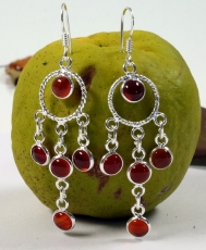Silver earrings Bollywood 4 - Carnelian