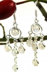 Silver earrings Bollywood 4 - Moonstone