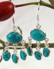 Silver earrings Bollywood 1 - Turquoise