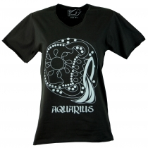 star sign T-Shirt `Aquarius` - black
