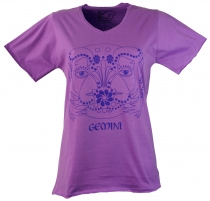star sign T-Shirt `Twins` - purple
