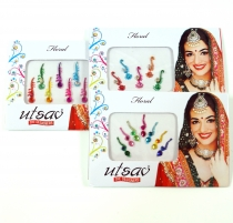 Set of 3 Indian Forehead Bindi, Body Stickers, Festival Face Bind..