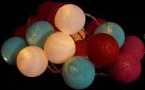 Fabric ball fairy lights LED ball lampion fairy lights - turquois..