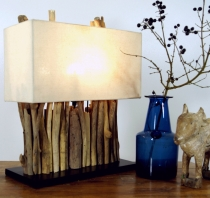 Table Lamp/Table Lamp Okawango, handmade in Bali from natural mat..