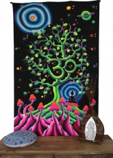 Goa wall cloth, UV black light wall hanging, pcycedelic mural - O..