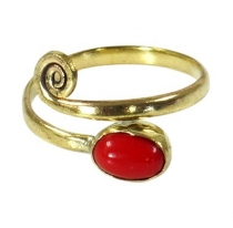 Brass Toe Ring, Goa Foot Jewelry, Indian Toe Ring - Gold/Coral